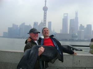 Myself and Derek Conlon in Shanghai on the QM2 World cruise 2013