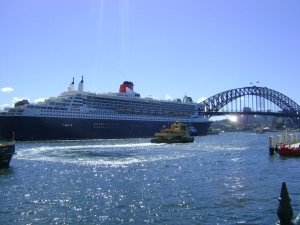 Docked at Sydney on the QM2 world cruise 2013